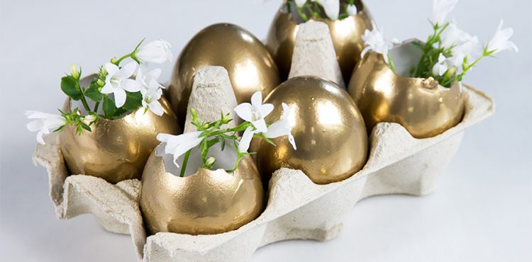 Easter Table Setting Decoration Golden Eggs Folding Bunny Napkin on Lifetime-pieces.com