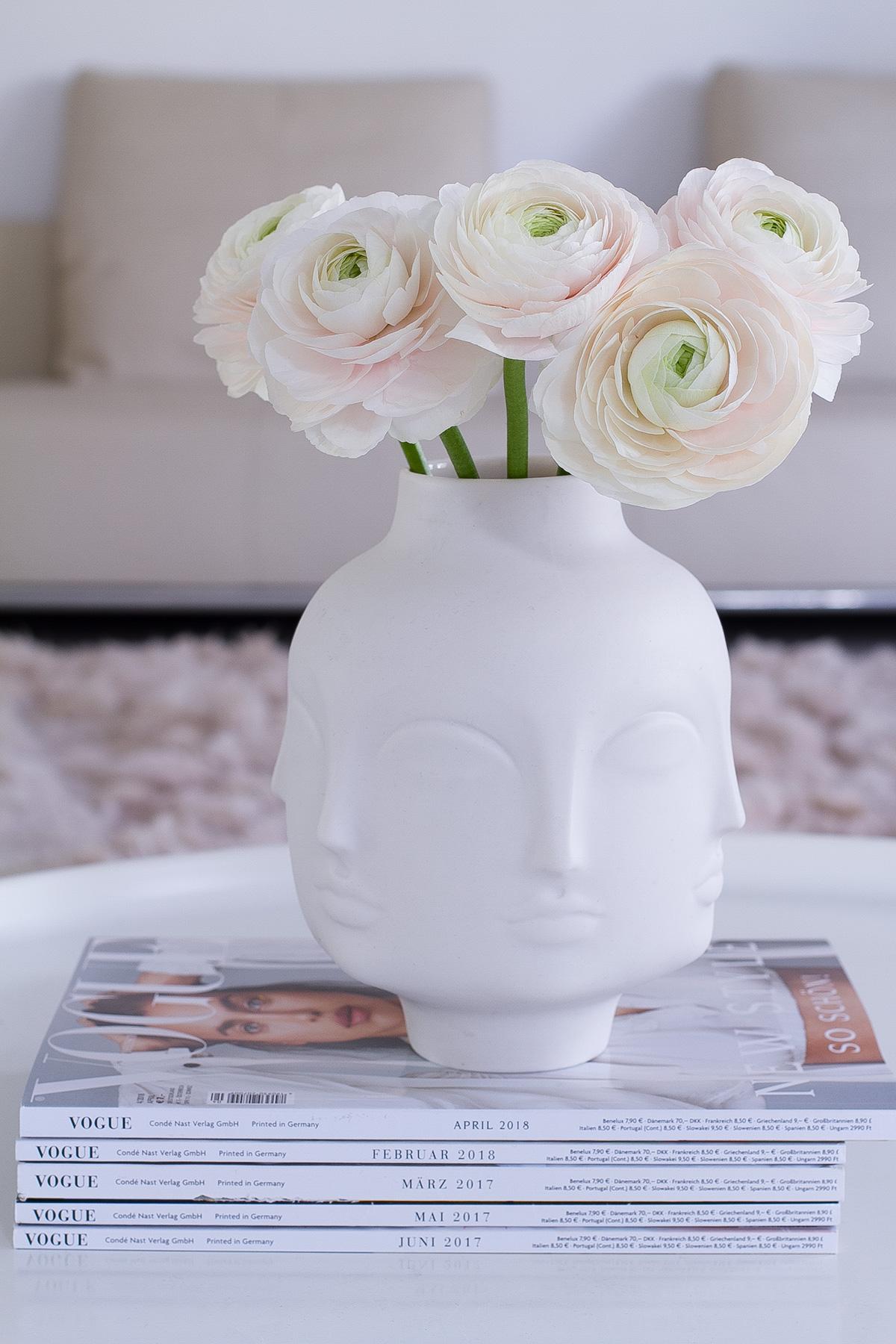 pink peonies in white Jonathan Adler porcelain Dora Maar vase, spring flowers, Vogue magazines, blogpost Lifetimepieces.com