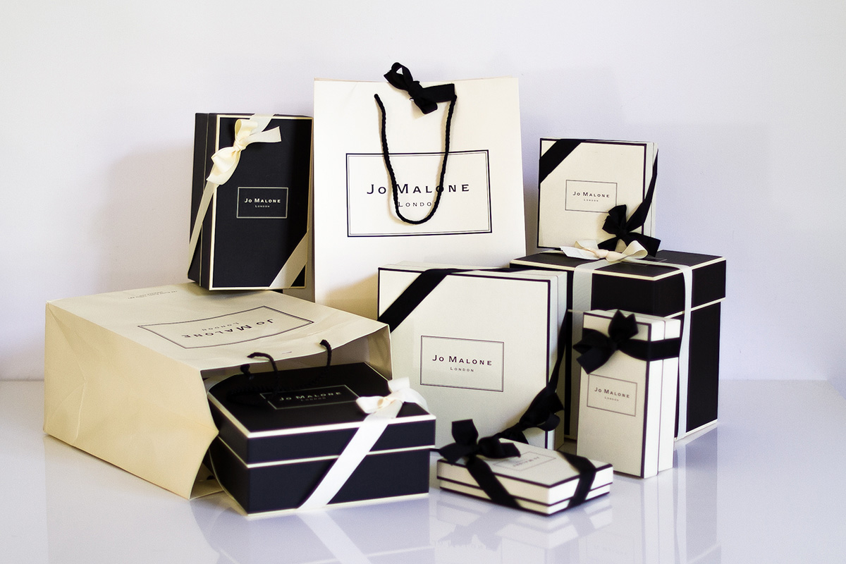 Jo Malone London, seven cream and black iconic signature gift boxes and ribbons