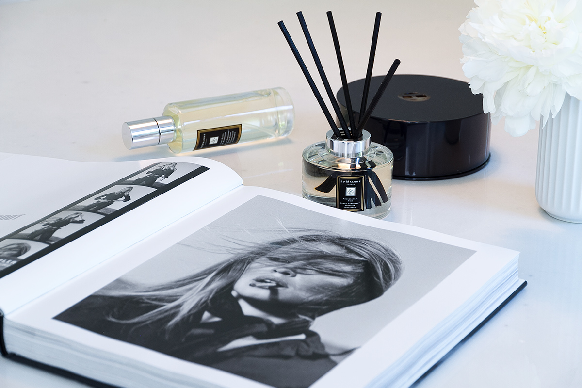 Jo Malone London, living in a scented home, scented candle and diffuser, coffee table book, white vase with white peonies