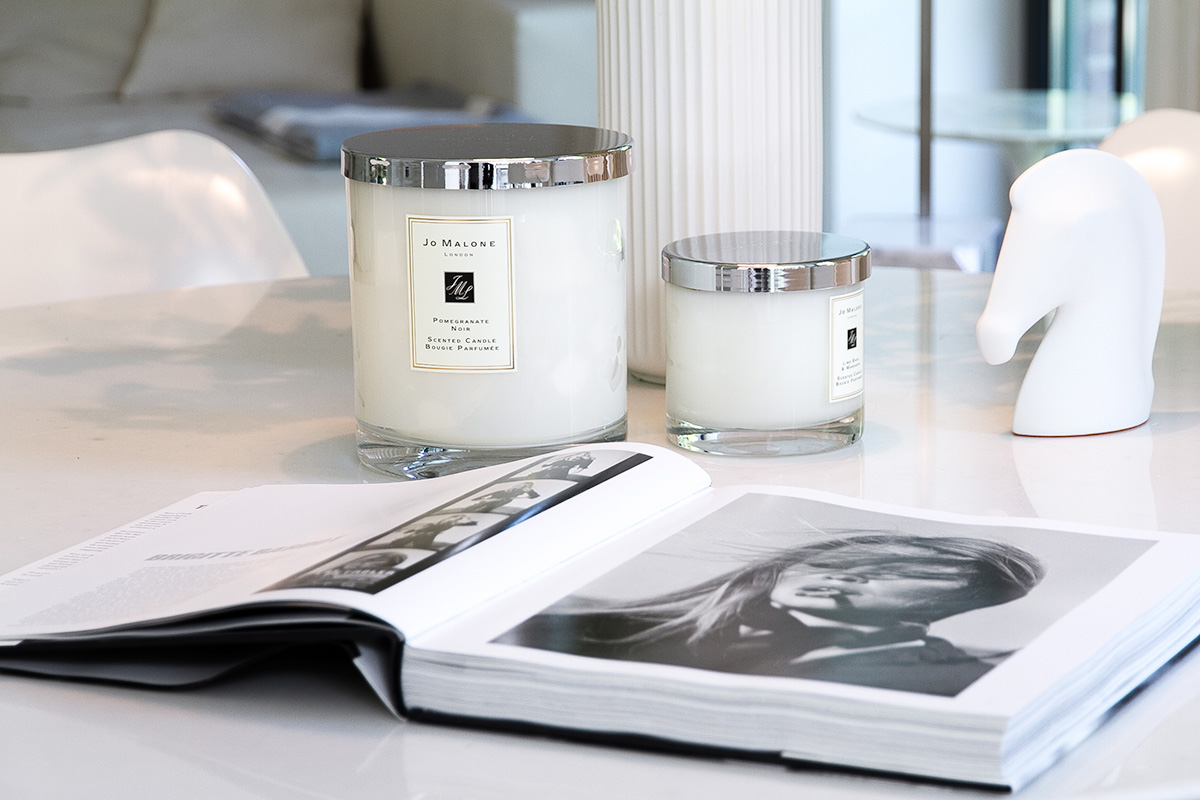 Jo Malone London, living in a scented home, scented candles and coffee table book
