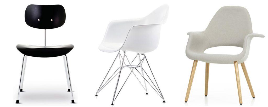 Drei Stühle, Eames Plastic Chair, Egon Eiermann Stuhl, Organic Chair von Charles Eames und Eero Saarinen bei Markanto Designklassiker