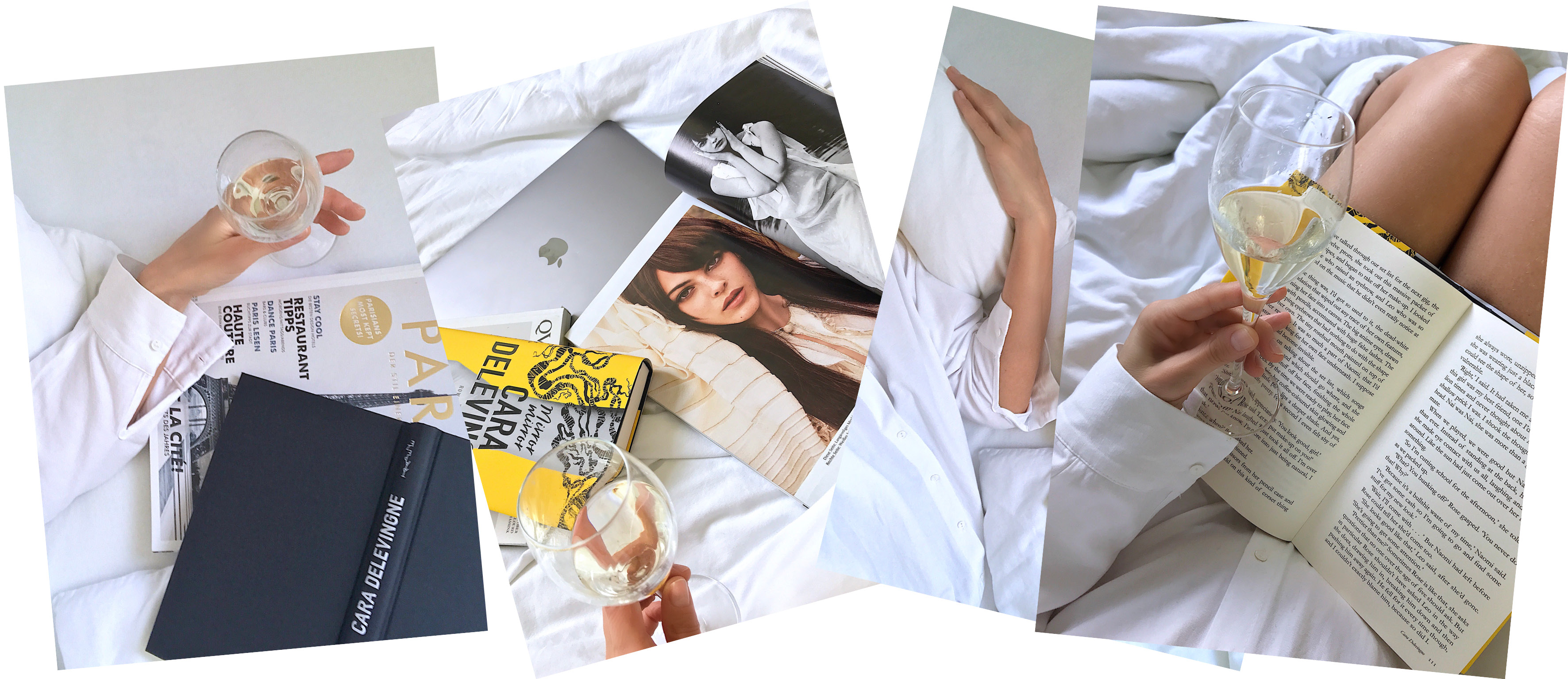 breakfast in bed collage moods glass of champagne holding in hand while reading a book white linen white shirt