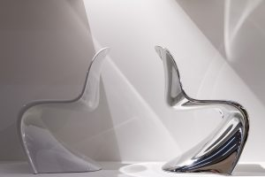 Panton Chairs chrome and white at Exhibitor Vitra imm cologne fair 2018, blog post on lifetime-pieces.com
