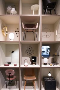 chairs, lamps, decoration in a huge store, exhibitor Vitra at imm cologne fair 2018, blog post lifetime-pieces.com