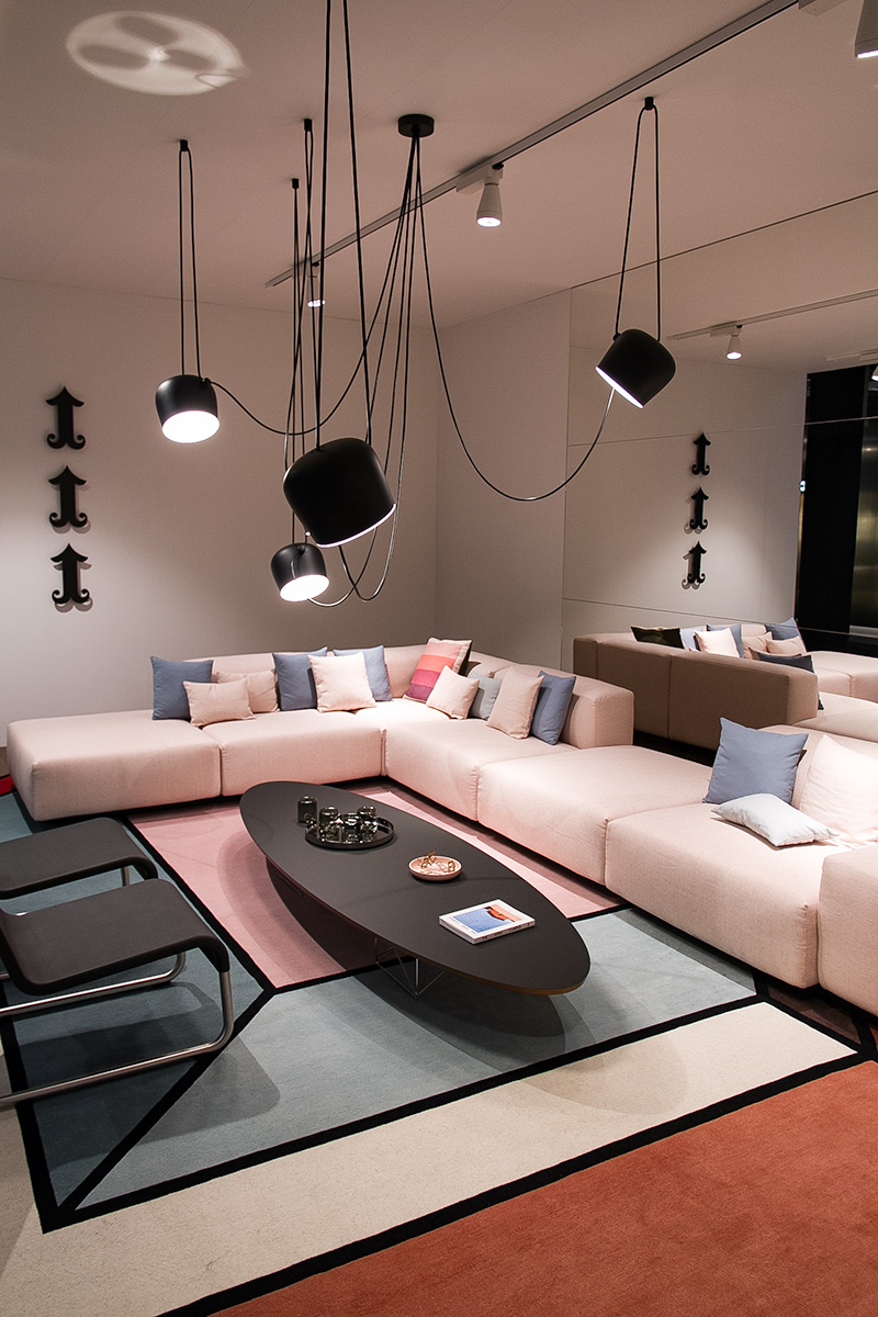 sofa, pink, cushions, pendant lights, carpet, side table, exhibitor Vitra at imm cologne fair 2018, blog post lifetime-pieces.com