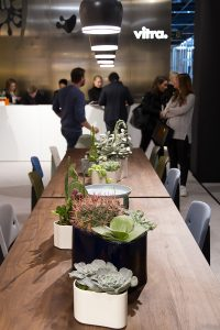 table, vases with cacti, exhibitor Vitra at imm cologne fair 2018, blog post lifetime-pieces.com
