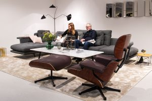 Grand Sofà grey by Antonio Citterio, Eames Lounge Chair brown, marble coffee table, stand exhibitor Vitra at imm cologne fair 2018, blog post lifetime-pieces.com