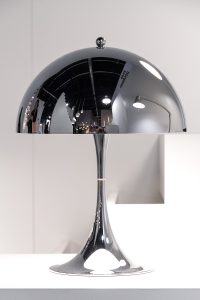 table lamp, Panthella mini chrome at exhibitor Louis Poulsen, imm cologne fair 2018, blog post on lifetime-pieces.com
