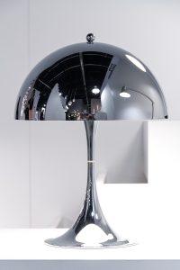 table lamp, Panthella mini chrome at exhibitor Louis Poulsen, imm cologne fair 2018, blog post lifetime-pieces.com