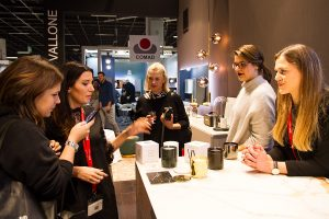 five women at exhibitor vallone stand, imm cologne fair 2018, blog post on lifetime-pieces.com