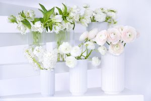 hyacinths, peonies, tulips, white and pink spring flowers in lyngby glass and porcelain vases blogpost Lifetimepieces.com