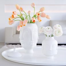 pink peonies and tulips in white Jonathan Adler porcelain Dora Maar vases, spring flowers, blogpost Lifetimepieces.com