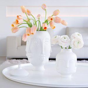 pink peonies and tulips in white Jonathan Adler porcelain Dora Maar vases, spring flowers, blogpost Lifetimepieces.com