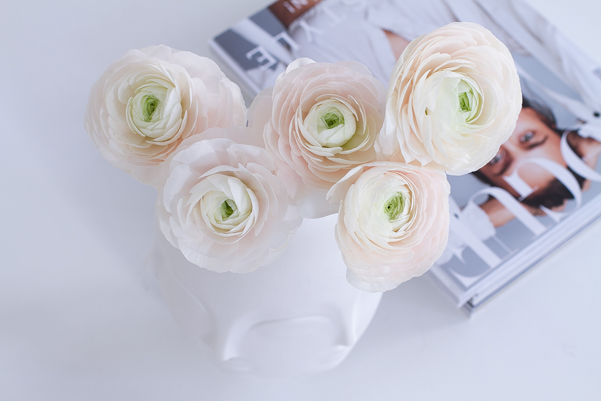 pink peonies in white Jonathan Adler porcelain Dora Maar vase, spring flowers, Vogue Magazine, blogpost Lifetimepieces.com