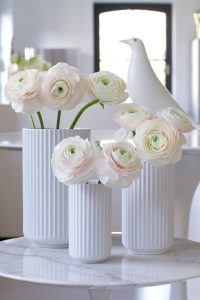 pink peonies in lybngby porcelain vases, spring flowers, white Eames house bird, Saarinen tables, blogpost Lifetimepieces.com