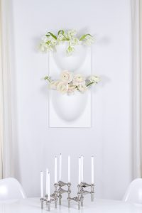 peonies and tulips in VertiPlants vases on the wall, spring flowers, justright candle holder, blogpost Lifetimepieces.com
