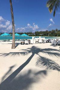 Kandima, palms, sand, seats, blue sky, Indian ocean, sea, palms, blog post about Maldives on lifetime-pieces.com
