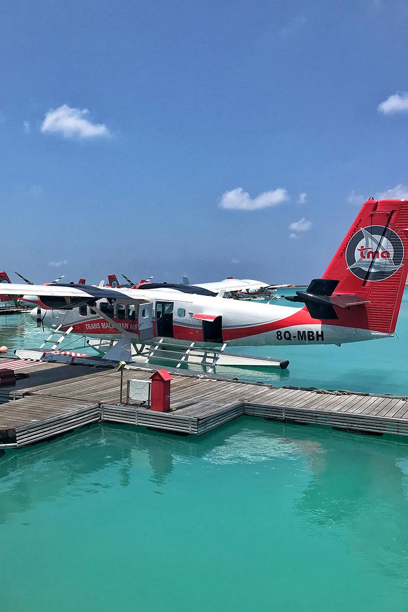 Sea Plane, Maldive islands, white clouds, blue sky, Indian Ocean, blog post about Maldives on lifetime-pieces.com