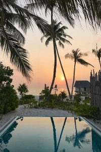 Fushifaru, pool, palms, sunset, Indian Ocean, sea, water villa, blog post about Maldives on lifetime-pieces.com