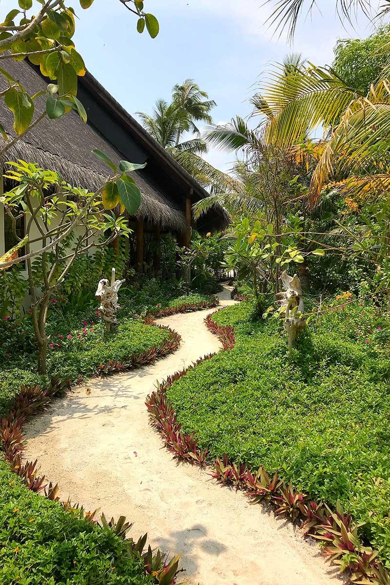 Fushifaru, spa area, huts, palms, oval pool, plants, blue sky, white clouds, sand path, blog post about Maldives on lifetime-pieces.com