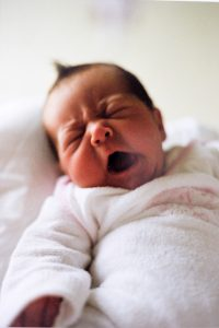Newborn Baby Girl, yawning, Mother's Day Blog post on Lifetime-pieces.com