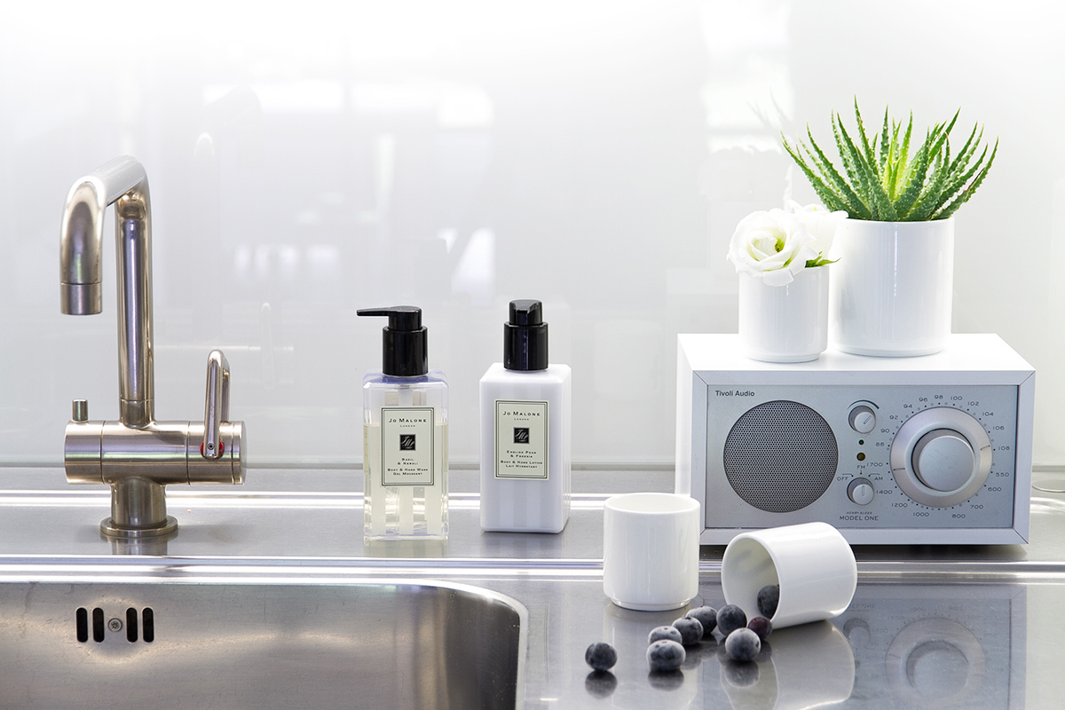 Jo Malone London, living in a scented home, kitchen sink, hand wash and lotion, Tivoli radio