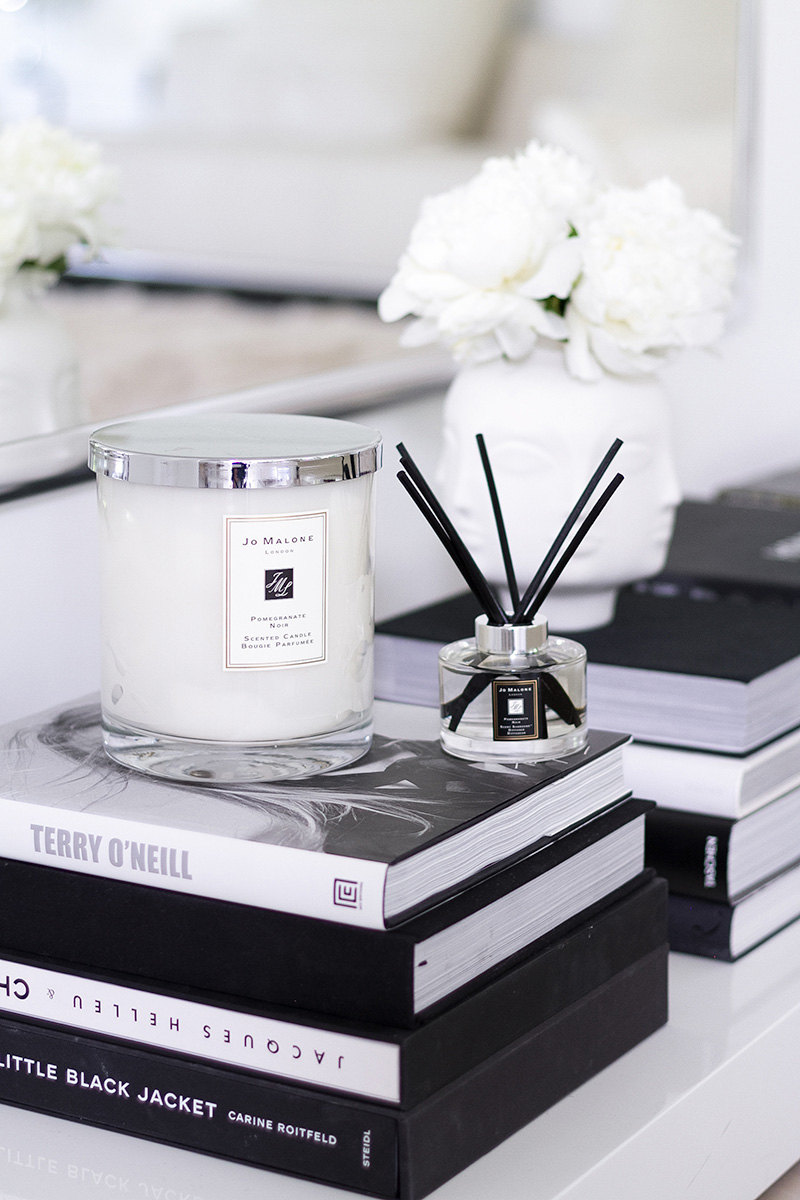 Jo Malone London, living in a scented home, scented candle and diffuser, coffee table books, Jonathan Adler Muse vase with white peonies