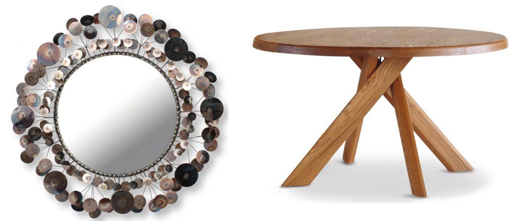 Dining Table von Pierre Chapo, Raindrops Wandspiegel von Curtis Jere, Markanto Designklassiker