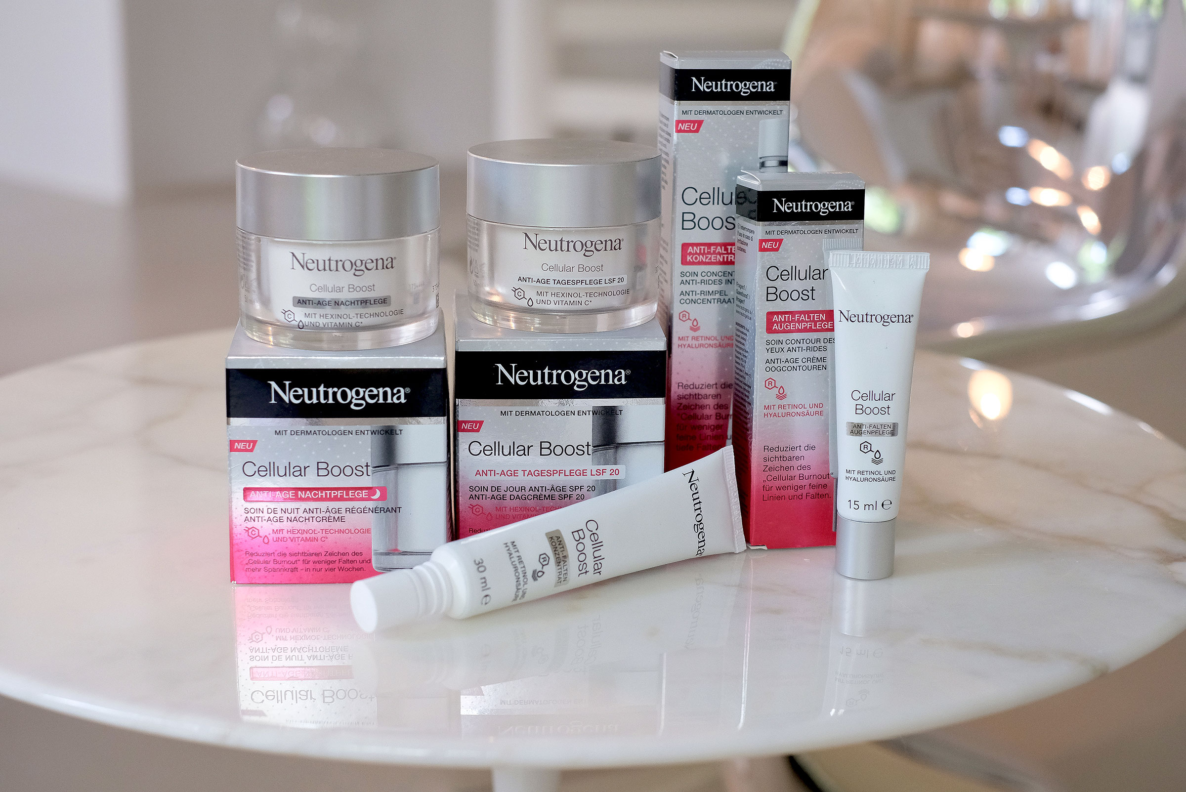 neutrogena, cellular boost, products, skincare, on a table